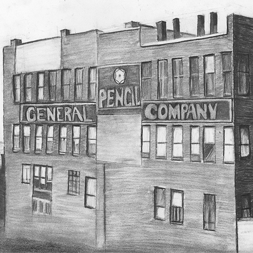 General Pencil Company Factory drawing, drawn with General's® Semi-Hex® Classic Graphite Drawing Pencils, by artist Brittany Francisco