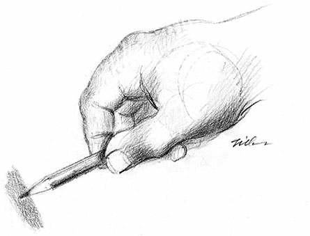 Drawing of a hand demonstrating a shading technique, drawing with General's® Draughting™ pencil by artist Bill Tilton.
